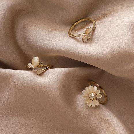papillon fleur bague mode forêt réglable bague index opale NHMS251591's discount tags