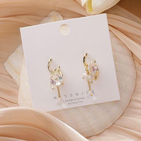 925 aguja de plata moda metal cruz borla dream shell flor pendientes de perlas de cristal para mujer NHMS251594's discount tags