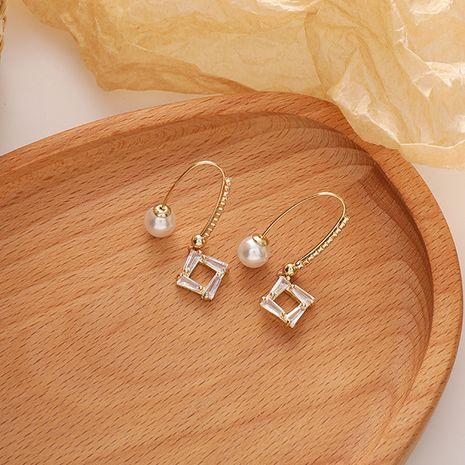Pendientes de cobre de moda geométricos con diamantes de circonita retro de perlas coreanas NHMS251599's discount tags