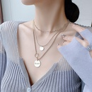 Korea fashion threelayered retro style round brand letter clavicle chain necklace for women NHMS251616