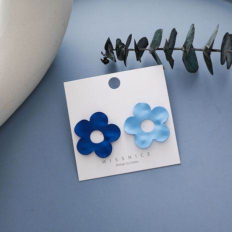 new hit color geometric flower Haze blue small daisy flower alloy earrings for women NHMS251624's discount tags