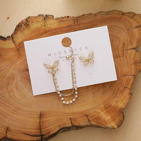 Pendientes de mujer asimétricos con forma de mariposa de circonita pequeña de cadena simple de aguja de plata de Corea 925 NHMS251626's discount tags
