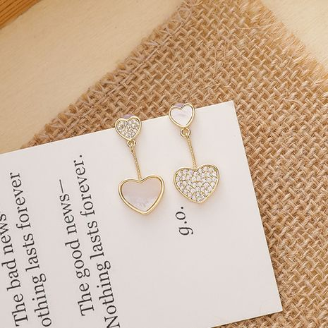 Corea 925 aguja de plata con incrustaciones de circonita tamaño de concha de amor en forma de aretes de cobre asimétricos salvajes NHMS251627's discount tags