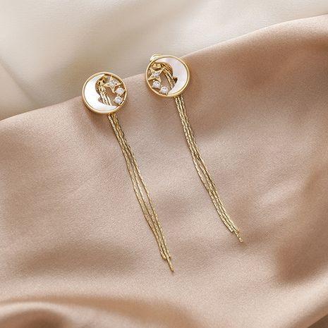 Fashion moon star zircon shell tassel Korean 925 silver needle long copper earrings for women NHMS251634's discount tags