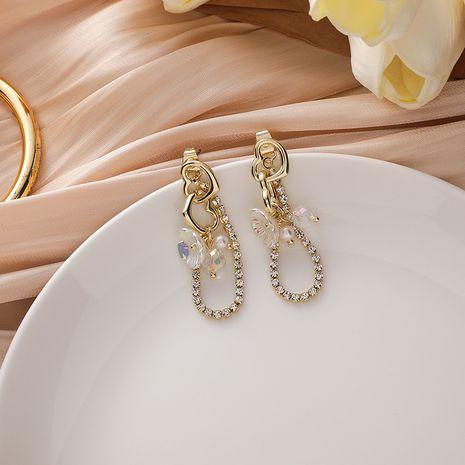 Pendientes de aleación de borla de diamantes de imitación de flor de concha de amor de aguja de plata 925 coreana NHMS251638's discount tags