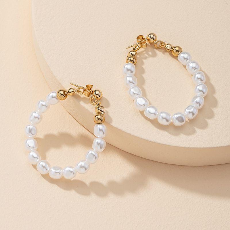 Fashion 1 Pair of Pearl Hoop Earrings Hot Selling wholesale NHGU251649
