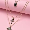 Exaggerated fashion nightclub cross head portrait pendant multilayer womens alloy new necklace  NHAJ251744