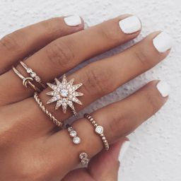 Popular new full diamond star moon ring set wholesale  NHAJ251749