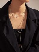 hot sale fashion full diamond multilayer womens link alloy necklace set  NHAJ251754