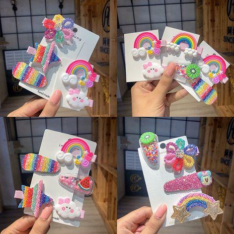 Rainbow cloud lollipop color hairpin Korean children cute hairpin bangs clip wholesale NHCQ251782's discount tags