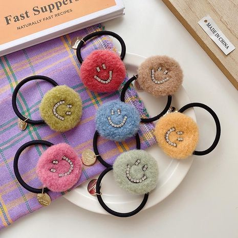 Korea new diamond smiley face hair rope cute plush hair ring wholesale NHCQ251800's discount tags
