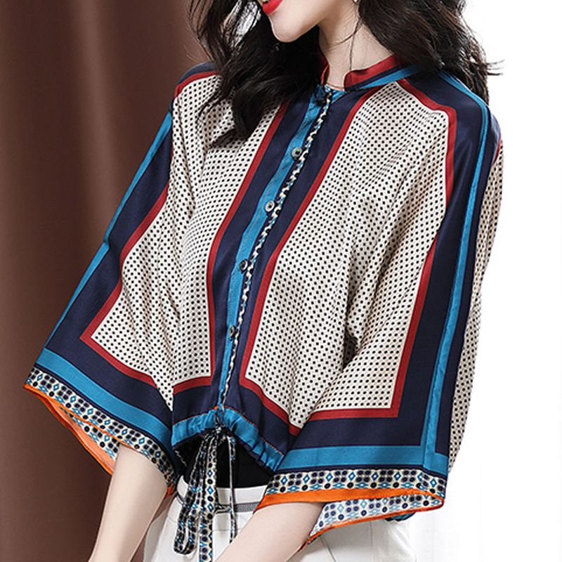 New printed chiffon shirt casual loose top for women wholesale NHJC251976