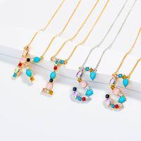 Nuevo collar de letras inglesas de diamantes exquisitos de moda simple al por mayor NHAN255898