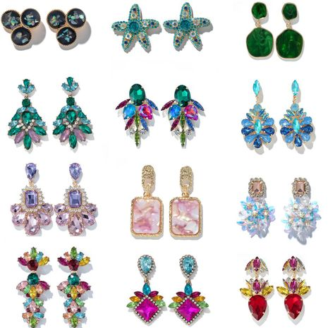 Fashion multi-layer alloy color flower five-pointed star diamond earrings NHGY255904's discount tags