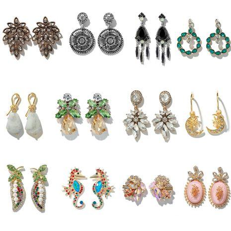 Fashion retro alloy diamond seahorse flower rhinestone pearl circle moon earrings NHGY255905's discount tags