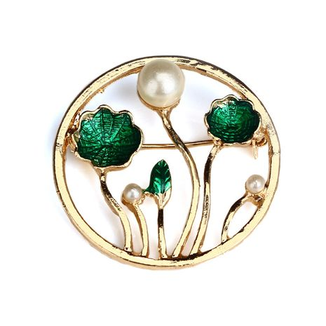 Fashion geometric round green flower pearl dripping brooch NHGY255907's discount tags