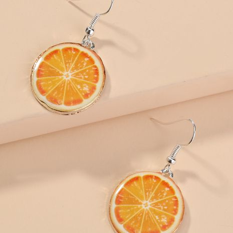 Korea fruit cute orange yellow ear hook jewelry wholesale NHAN255930's discount tags