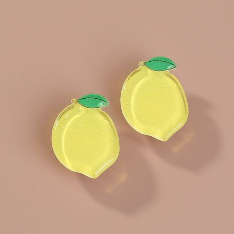 Summer fruit earrings yellow lemon simple acrylic student earrings wholesale NHAN255932's discount tags