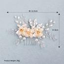 Fashion handmade pearl hair comb alloy leaf headdress bridal wedding jewelry NHHS255936