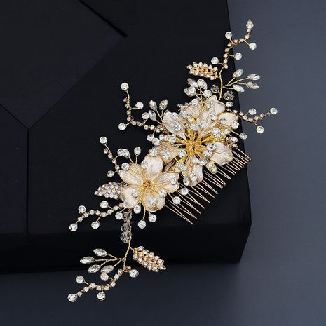Fashion alloy flower hair comb handmade branches crystal insert comb NHHS255937's discount tags