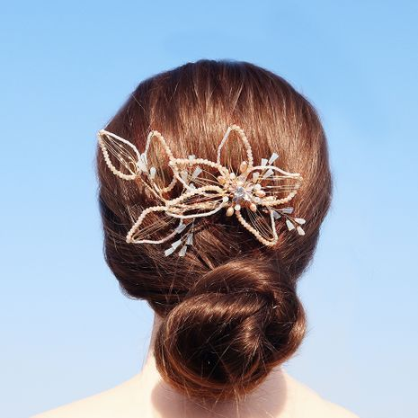Beautiful freshwater pearl hair comb crystal flower insert comb NHHS255938's discount tags