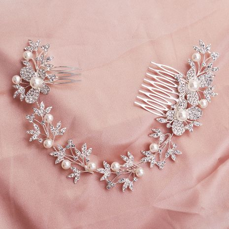 Fashion classic alloy pearl diamond-studded butterfly long comb wedding hair accessories NHHS255940's discount tags