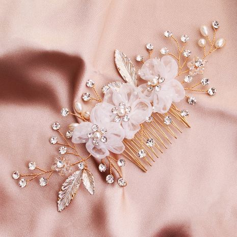 Creative lace fabric artificial flower handmade crystal bead alloy flower comb NHHS255945's discount tags