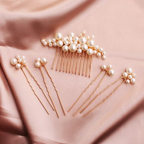 Fashion sweet handmade pearl hairpin wedding plate and comb set NHHS255949's discount tags