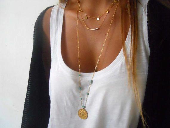 Fashion retro new ethnic style multi-layer disc round tube turquoise alloy women's necklace  NHAJ255967