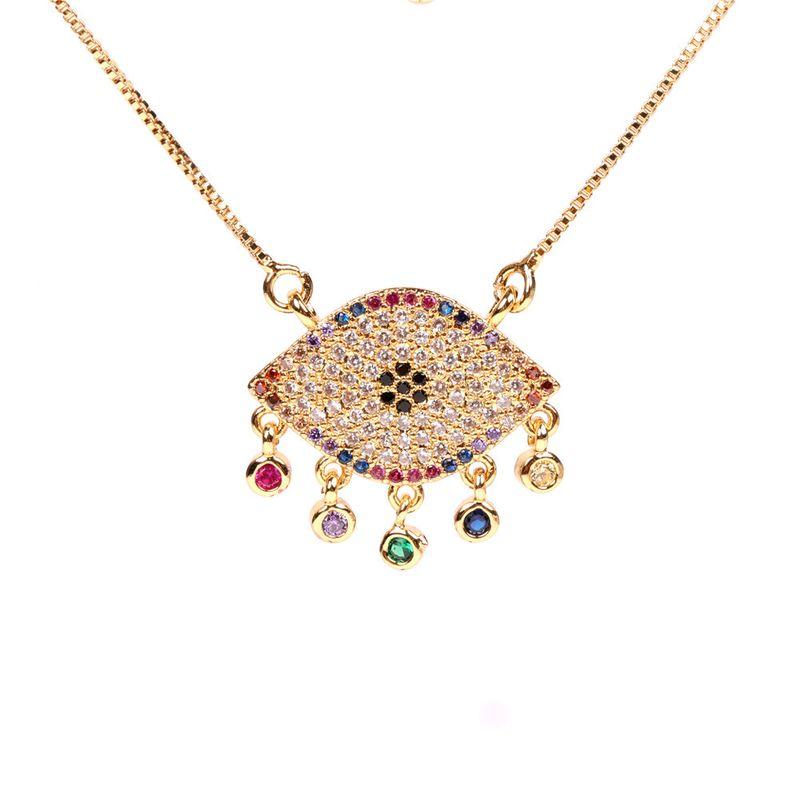 new micro-inlaid zircon devil's eye copper pendant necklace clavicle chain wholesale NHPY255994
