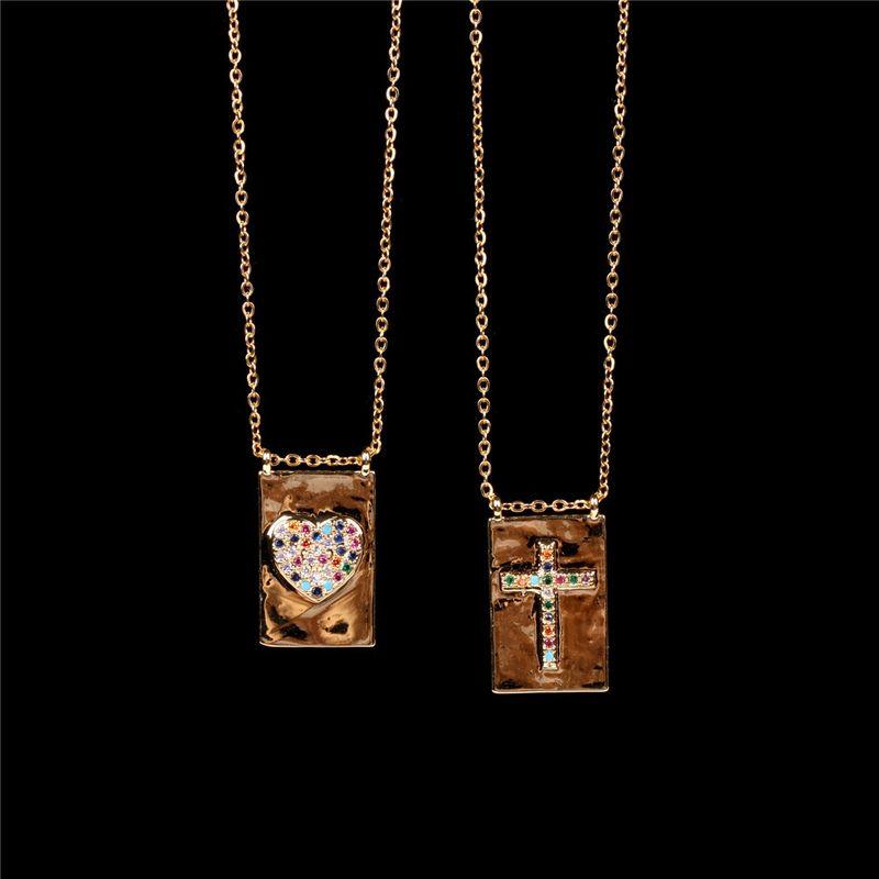 new trend fashion simple square diamond love pendant clavicle chain cross copper necklace NHPY256001
