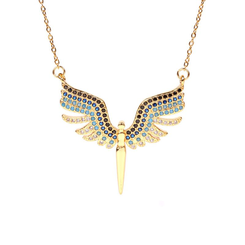 new angel wings fashion wings simple trend copper clavicle chain pendant necklace NHPY256002