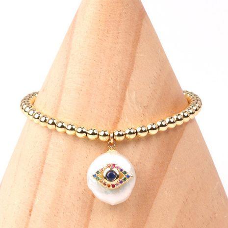 Nueva moda color diamante ojos palma en forma de botón barroco pulsera de perlas al por mayor NHPY256009's discount tags