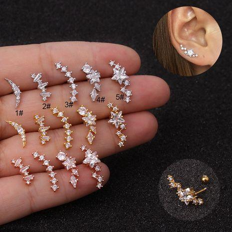 Clous en os à tige fine en acier inoxydable, boucles d'oreilles à vis zircon étoile à cinq branches NHEN256012's discount tags