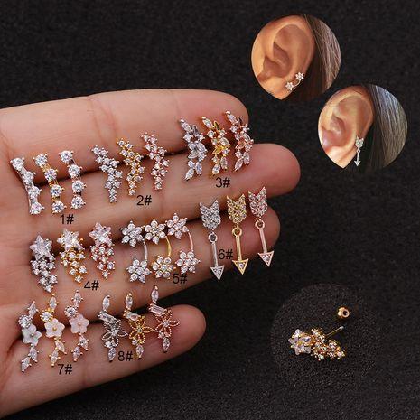 nouvelle créative fleur vis fine aiguille clous d'oreilles en acier inoxydable zircon boucles d'oreilles NHEN256010's discount tags