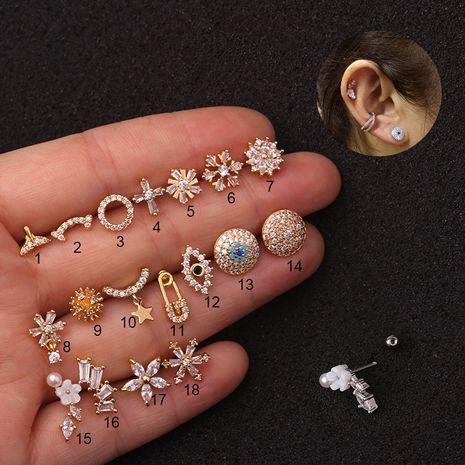 nouvelles boucles d'oreilles sauvages en acier inoxydable zircon créatives NHEN256013's discount tags