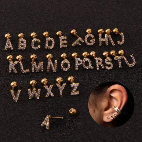 nouveau 26 clous d'oreille en alphabet anglais en acier inoxydable boucles d'oreilles en fil de zircon NHEN256014's discount tags