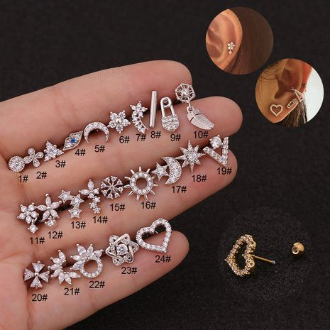 nouvelles boucles d'oreilles créatives en forme de fleur en acier inoxydable NHEN256015's discount tags