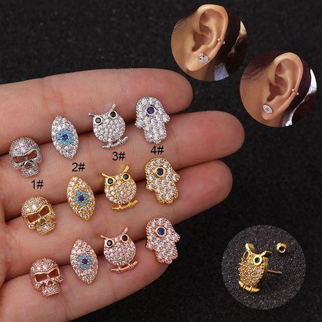 Nouveau dessin animé hibou oreille os ongles vis en acier inoxydable boucles d'oreilles à tige mince NHEN256016's discount tags