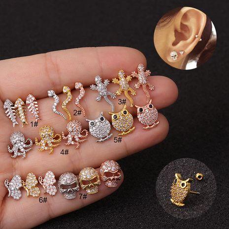vente chaude animal zircon cartilage créative exagérée tête de crâne vis boucles d'oreilles NHEN256017's discount tags