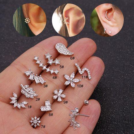 vente chaude boucles d'oreilles piercing zircon oreille clous en os fleur boucles d'oreilles en acier inoxydable double face NHEN256019's discount tags