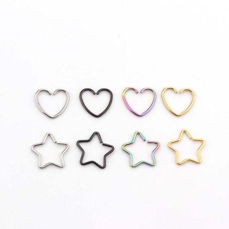 Boucles d'oreilles étoile à cinq branches en acier inoxydable avec cœur de pêche NHEN256023's discount tags