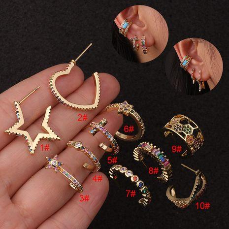Boucles d'oreilles étoile à cinq branches Personnalité Boucles d'oreilles zircon couleur NHEN256026's discount tags