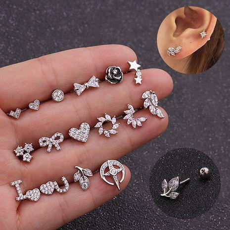 Mode nouvelle fleur de zircon amour bowknot vis alliage oreille ongles en os NHEN256033's discount tags