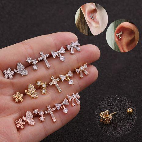 nouvelle mode mince tige vis arc noeud pendentif boucles d'oreilles en gros NHEN256034's discount tags