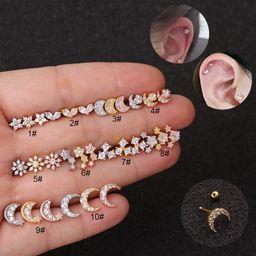 Pendientes de circonita de tornillo de doble cara de acero inoxidable de moda NHEN256036