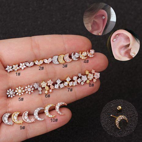 Boucles d'oreilles zircon à vis double face en acier inoxydable NHEN256036's discount tags