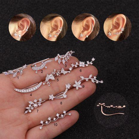 Nouvelle fleur zircon mode créative longues boucles d'oreilles en gros NHEN256037's discount tags