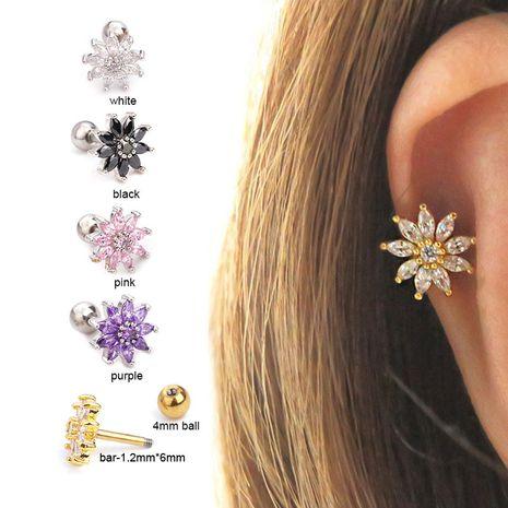 vente chaude mode micro-incrusté de fleurs de soleil boucles d'oreilles à vis en gros NHEN256038's discount tags