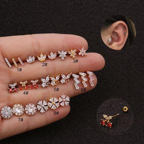 Boucles d'oreilles créatives en forme de cerisier fileté double face en acier inoxydable zircon NHEN256039's discount tags